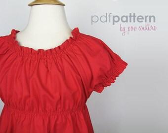 Peasant Dress - PDF PATTERN and Instructions 18m-6T