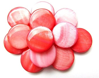 6pcs Salmon Mother of pearl Beads Coin Shape Beads 20mm Beads Supplies Jewelry making