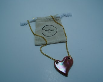 Handcrafted Ceramic Necklace   Pink Heart with Opalescent Mother of Pearl Accent