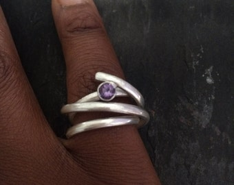 Statement Ring, Amethyst Ring, Sterling Silver, Wrap Ring, Unique Silver Ring, February Birthstone, Modern Design, Modern Jewellery