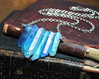 Mystic Blue Quartz Crystal Row Necklace Electroplated Quartz Crystal Points Necklace Titanium Quartz
