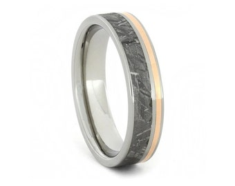 Meteorite and 14k Rose Gold Ring with Titanium Accent and Sleeve, Wedding Band