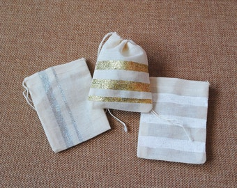 Striped Muslin Bags - Set of 5