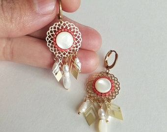 Miyuki and rosette earrings