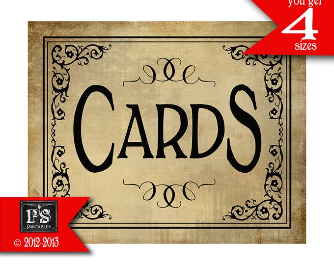 Cards Sign for your Wedding cards box - instant download PRINTABLE digital file - DIY - Vintage Black Tie Collection