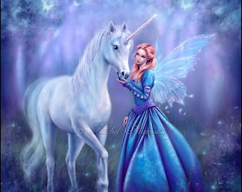 Rhiannon - Unicorn & Fairy Painting by Rachel Anderson