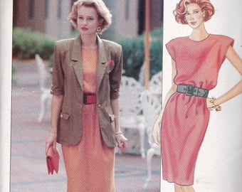 Butterick 4701 Vintage Pattern Womens  Unlined Jacket and Loose Fitting Dress Size 14,16,18 UNCUT