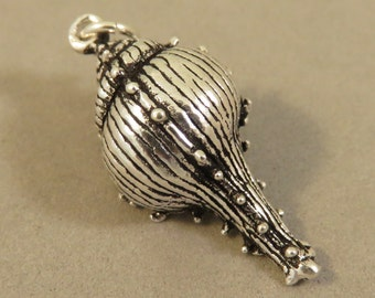 Sterling Silver 3-D TULIP SHELL Charm Pendant Beach Comber Sea Detailed Seashell Ocean .925 Sterling Silver New t90