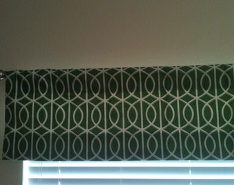 Green Lattice Lined Valance - Ready to ship