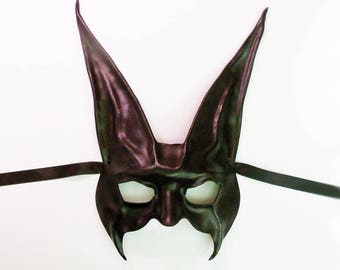 """Black Rabbit Leather Mask 12 1/2"""""""" tall extra long ears a little spooky but also elegant for more formal events very lightweight"""