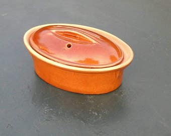 Clay Terrine / casserole /vintage / French / Shabby chic french rustic
