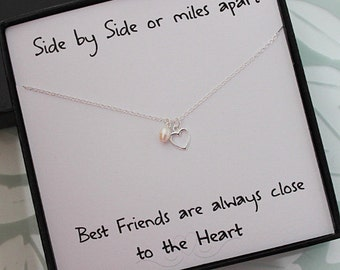 Best Friend Necklace & card, Sterling Silver Heart Necklace, Freshwater pearl Necklace, Best friend gift, Gifts for Her