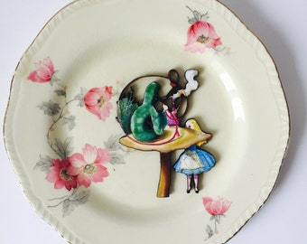Green Caterpillar from Alice in Wonderland Cream China with Pink Flowers Display 3D Plate Sculpture for Wall Decor Birthday Wedding Gift