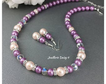 NEW! Bridesmaid Gift Blush Wedding Jewelry Lavender Necklace Blush Bracelet Gift for Her Maid of Honor Gift Idea