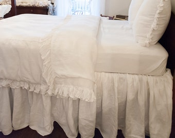 Full Size Ruffled Linen Bed Skirt/Dust Ruffle