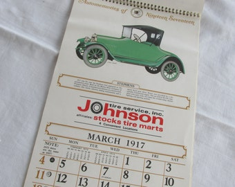 Calendar - 1917 Motor Cars  - 1973 - Johnson Tire Service, Ga - Vintage