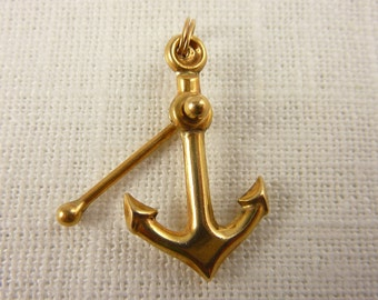 Vintage JMF 14K Gold Fisherman's Anchor with Moveable Stock Pendant
