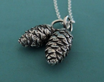 Pine Cone Charm Necklace in Sterling Silver with Two Charms Free Shipping, Gardening Gift