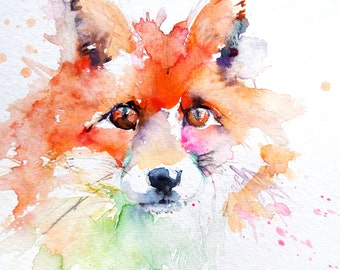 LIMITED edition print of original  Red Fox 13wall art, home decor, nursery art, wildlife animal art.  hand signed, illustration, animal art