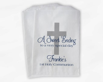 First Communion Favor Bags - Baptism or Religious Party Custom Favor Bags - Set of 25 Silver and Navy Paper Treat Bags (0073)
