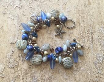Ocean Jewelry, Beach Bracelet, Sea Glass Bracelet, Ocean Bracelet, Pearl Bracelet, Starfish Bracelet, Stone Bracelet, Aquamarine Bracelet