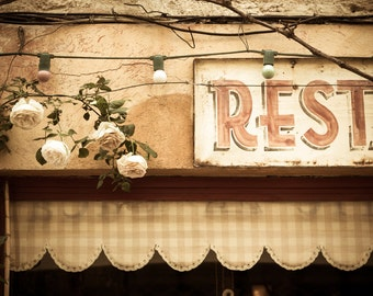 French Restaurant Photograph - Kitchen Art - Provence France - Restaurant Photography - Saint-Remy - Roses - Rustic