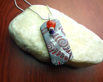 Silver, Red, and Purple Polymer Clay Pendant on a 18' 925 Silver Chain