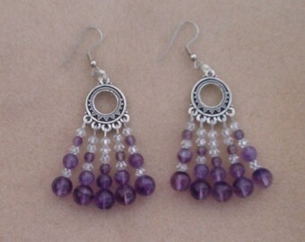 Handmade silver color Chandelier Earrings with Amethysts and Swarovski Crystals