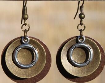 Boho Earrings Bohemian Earrings Jewelry Dangle Earrings Drop Earrings Mixed Metal Earrings Copper Earrings Gift for women Gift for her