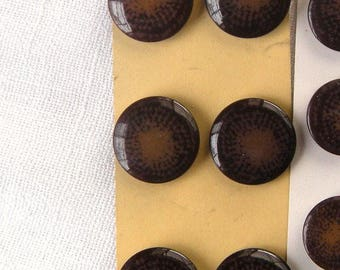 6 Speckled Brown Vintage Buttons, 21 mm, Flat with Rounded Edge, Very Glossy, Self Shank, Coat,Jacket, Buttons By Schwanda