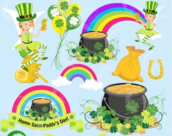 80%OFF St Patrick's Day clipart, St Patricks Day, Irish clipart, Shamrock Clipart, Rainbow Clipart, Instant Download, AMB-1184