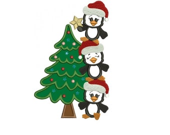 Penguins with Christmas Tree Applique Machine Embroidery Digitized Design Pattern - instant download - 4x4 , 5x7, and 6x10 -hoops