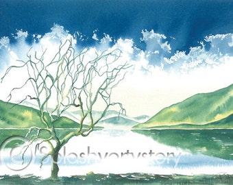 LOCH LOMOND  Art Print Of Original Watercolour Painting from Scottish Artist.