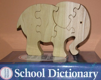 Toy Elephant - Child's Puzzle - Wooden Elephant Toy and Child's Decor