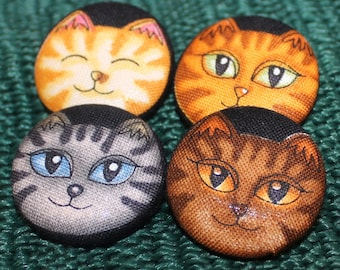 """Cats Kitties Fabric Covered Buttons Black - Set of 4 - 1 1/8"""""""