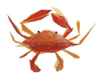 Clementine Crab - Crab Art Print, Crab Decor, Nautical Art Print, Beach Art