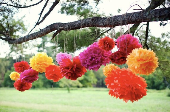 Tissue paper pom poms mexican party decorations mexican tissue paper pom poms mexican party decorations mexican fiesta fiesta mexican paper flowers bridal shower baby shower decorations pom mightylinksfo Image collections