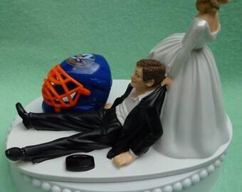 Wedding Cake Topper New York Islanders NY Isles Hockey Themed w/ Bridal Garter Humorous Sports Fans Bride Groom Funny Reception Centerpiece