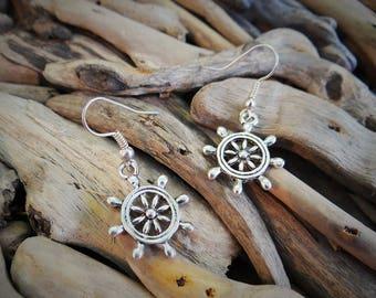 AHOY Ship Ships Wheel Captain Captain's Steering Anchor Nautical Boat Rockabilly Mermaid Silver Earrings Earring Hooks