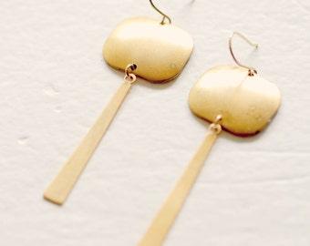 Long Golden Bar Earrings, Modern Brass Dangle Earrings, ModernGeometric Earrings, Geometric Earrings, Modern Gold Earrings