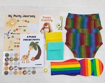 Washable Potty Training kit, 2 pairs training pants, toilet training, starter kit, chart, stickers, happy pants, 2-3y, 3-4y
