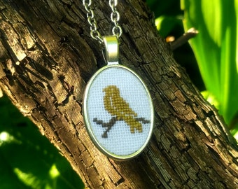 Little Bird - embroidered necklace