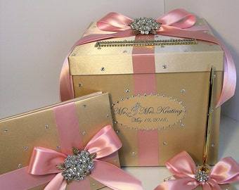 Wedding Card Box 4 Sets,1 tier Champagne and Light pink Card Box Guest book,Pen/Pen Holder Gift Money Box Holder-Customize your color