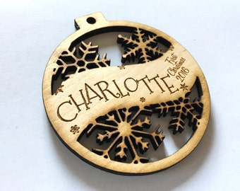 Charlotte - Customizable Baby's First Christmas Ornament - Engraved Birch Wood Ornament