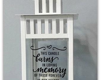 Wedding Lantern, Memorial Table, Memory Candle, Memorial Lantern, Remembrance, Keepsake, This Candle Burns In Memory