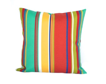 "one outdoor striped pillow covers, red pillow, green pillow  pillow covers, 14"" 16"" 18"", 20"", throw pillow, decorative pillow, home decor"