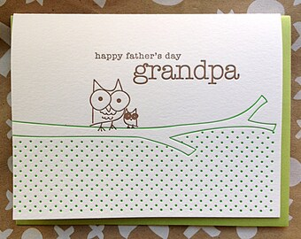 Fathers Day Card for Grandpa Grandfather - Owl and Owlette Letterpress card for Dad's Day - Letterpress Father's Day Card