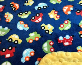 Minky Blanket Cars Print Minky with Yellow Dimple Dot Minky Backing - Cute Gift for a Boy