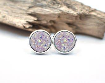 Druzy Earrings, Gift For Her, Gift for Women, Stocking Stuffer for Her, Purple Druzy Earrings, Post Earring, Silver Earring, Dangle Earrings
