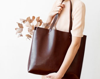 Large Chestnut Brown Leather Tote bag No. Ltb-1501